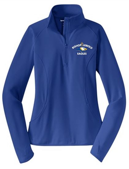 Picture of Bishop Leibold Ladies Wicking 1/4 Zip Pullover by Sport Tek LST850 - Royal,  Heather Blue,  White or Heather Charcoal Grey
