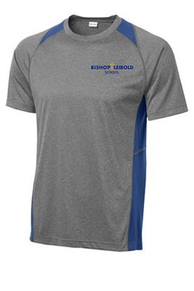 Picture of Bishop Leibold Unisex Dri-Fit Tee by Sport Tek ST361 - Grey/Gold or Grey/Royal Blue