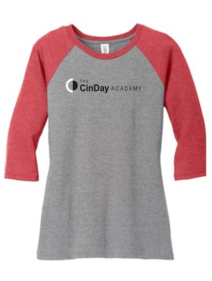 Picture of Cinday Academy Ladies Raglan Tee by District DM136L - Red
