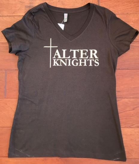 Picture of Alter Knights Ladies Distric Made Soft Cotton Short Sleeve V-Neck Tee (Gold Glitter)