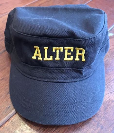 Picture of Alter District Distressed Military Hat, Brown with Gold
