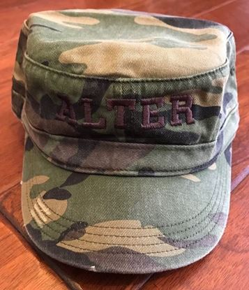 Picture of Alter District Distressed Military Hat, Camo with Brown