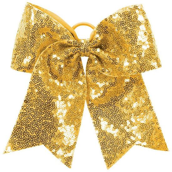 Picture of Bishop Leibold Sequin Cheer Hair Bow by August 6702 - Royal or Gold