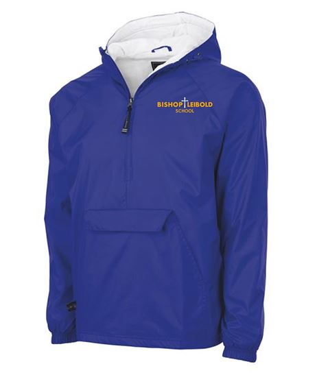 Picture of Bishop Leibold Unisex Rain Pullover by Charles River 9905 - Royal, Gold