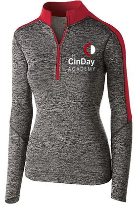 Picture of CinDay Academy Ladies Electrify 1/2 Zip Pullover by Holloway 222742 - Black Heather/Scarlet ONLY 1 LEFT
