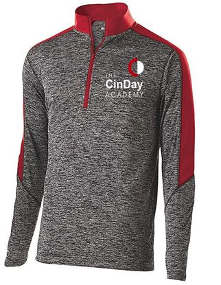Picture of CinDay Academy Youth Electrify 1/2 Zip Pullover by Holloway 222642 - Black Heather/Scarlet