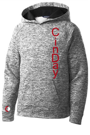 Picture of CinDay Academy Youth Electric Hoodie by Sport Tek YST225 - Heathered Black or Heathered Red
