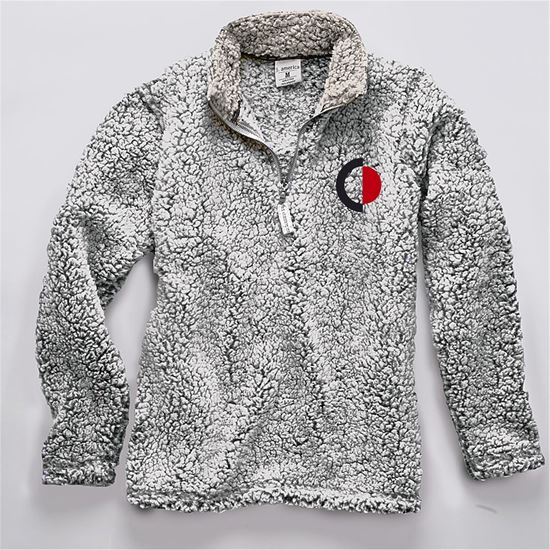 Picture of CinDay Academy Ladies 1/4 Zip Sherpa by J. America 8451 - Black Heather or Black