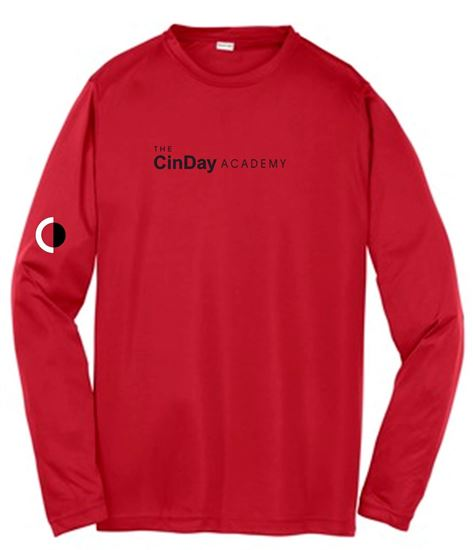 Picture of CinDay Academy Unisex Long Sleeve Tee by Sport Tek ST350LS - Red