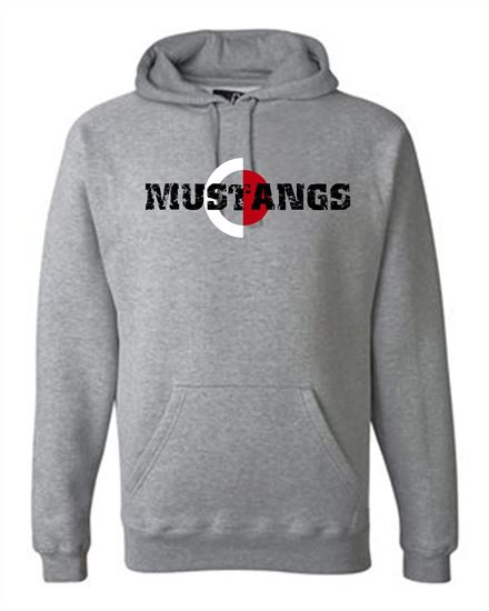 Picture of CinDay Academy Mustangs Unisex Premium Hooded Sweatshirt by J. America 8824 - Oxford Gray