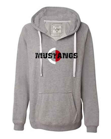 Picture of CinDay Academy Mustangs Ladies V-Neck Hoodie by J. America 8836 - Oxford Gray
