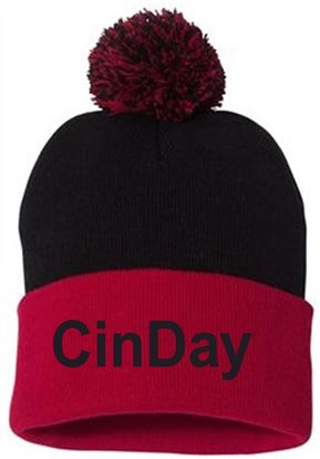 Picture of CinDay Academy Pom-Pom Knit Beanie by Sportsman SP15 - Black/Red
