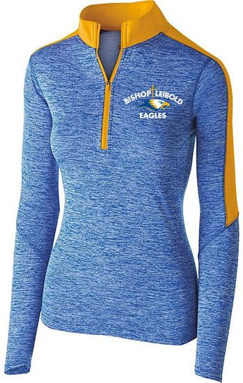 Picture of Bishop Leibold Ladies Electrify 1/2 Zip Pullover by Holloway 222742 - Royal Heather/Light Gold ONLY 1 LEFT, SIZE S