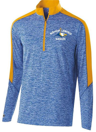 Picture of Bishop Leibold Unisex Electrify 1/2 Zip Pullover by Holloway 222542 - Royal Heather/Light Gold ONLY 1 LEFT, SIZE S