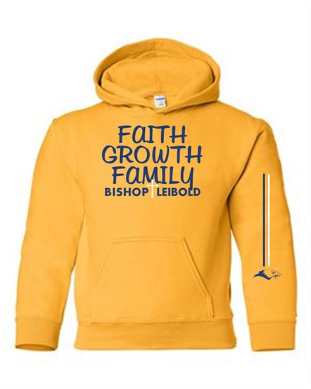 Picture of Bishop Leibold Unisex Faith, Growth, Family, Hoodie by Gildan 18500 - Gold