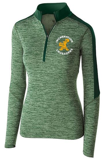 Picture of Incarnation Ladies Electrify 1/2 Zip Pullover by Holloway 222742 - Green/Dark Green or Grey/White ONLY 2 LEFT!!