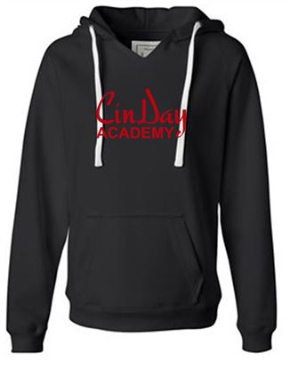 Picture of CinDay Academy Ladies V-Neck Foil Hoodie by J. America 8836 - Black