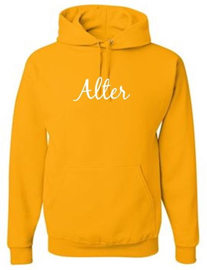 Picture of Alter Youth White Glitter Hoodie by Gildan 18500B - Gold