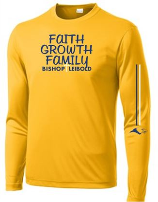 Picture of Bishop Leibold Faith, Growth, Family,  Unisex  Long Sleeve Gold Tee by Sport Tek ST350LS