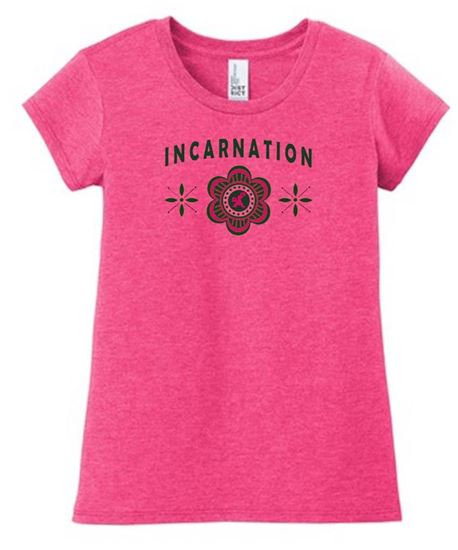 Picture of Incarnation Ladies Flower GLITTER Tee by District DT6002