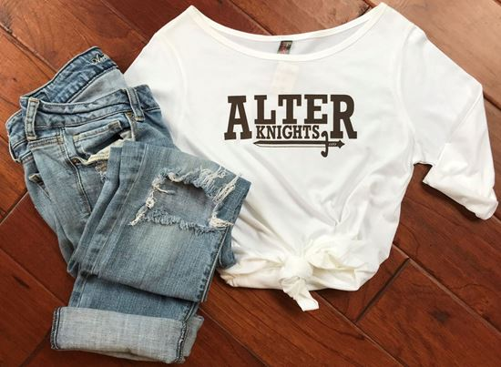 Picture of Alter Knights Ladies, District Made Soft Cotton, 3/4 Sleeve Shirt with Cross on the Back