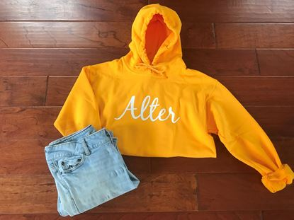 Picture of Alter Hoodie with White GLITTER Script Logo by Gildan 18500 - Gold