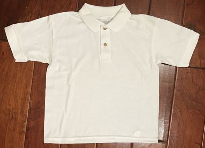Picture of White Polo Shirt (brown buttons) by Gildan