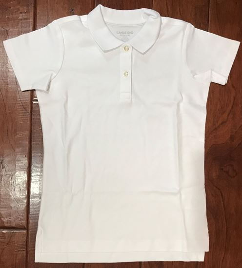 Picture of Girls White Polo Shirt by Lands End