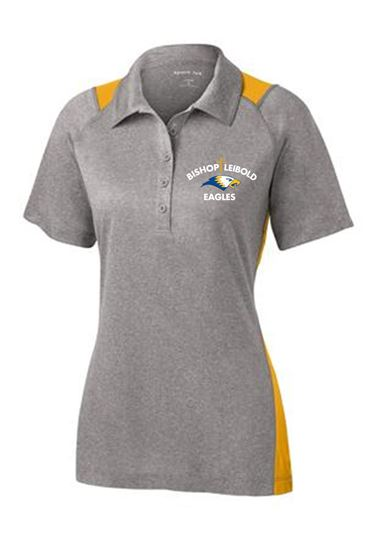 Picture of Bishop Leibold Ladies Performance Polo by Sport Tek  LST665 - Grey/Gold or Grey/Royal Blue