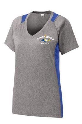 Picture of Bishop Leibold Ladies Dri-Fit Tee by Sport Tek LST361 - Grey/Gold or Grey/Royal Blue