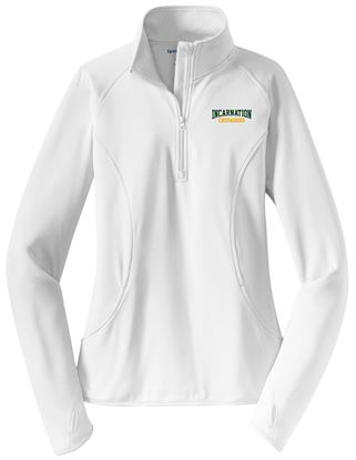 Picture of Incarnation Ladies Wicking 1/4 Zip Pullover by Sport Tek LST850 - Hunter or White