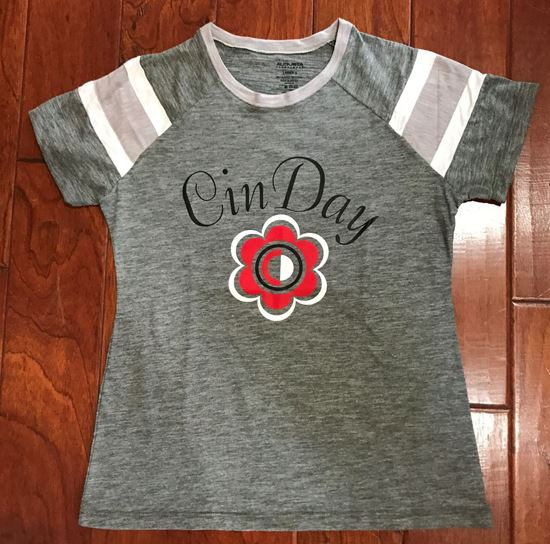 Picture of CinDay Ladies Fanatic Tee by Augusta 3011 - Slate/Athletic Heather/White