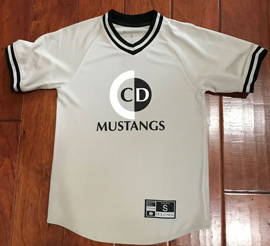 Picture of CinDay Mustangs Youth Retro V-Neck Baseball Jersey by Holloway 221221 - Silver/Black ONLY 1 SIZE LEFT!!