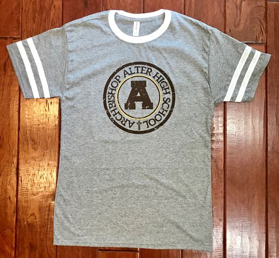 Picture of 50% OFF! Archbishop Alter Unisex Triblend Varsity Ringer T-Shirt by Jerzees 602MR - Oxford