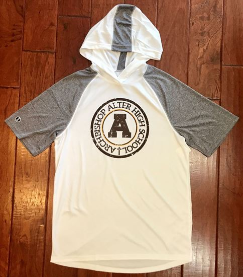 Picture of Archbishop Alter Unisex Short Sleeve Echo Hoodie by Holloway  222545 - White/Graphite Heather