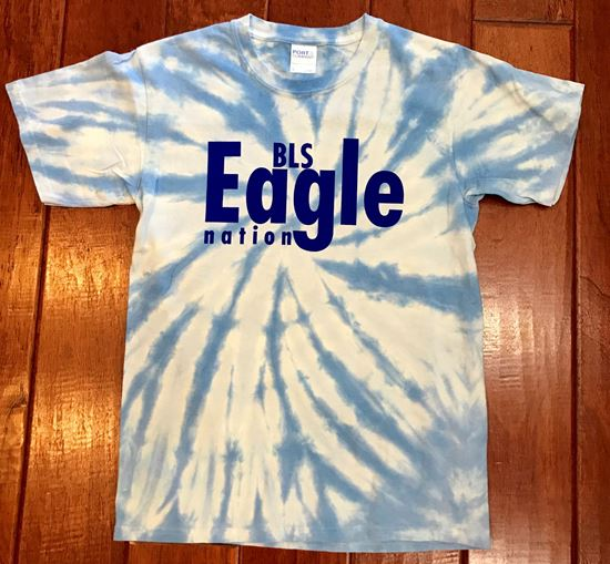 Picture of BLS Eagle Nation Youth Tie-Dye Short Sleeve T-Shirt by Port & Company PC147Y - Light Blue