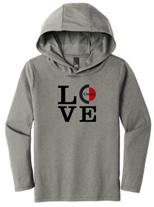 Picture of CinDay LOVE Women's Perfect Tri Long Sleeve Hoodie by District DM139L - Grey Frost