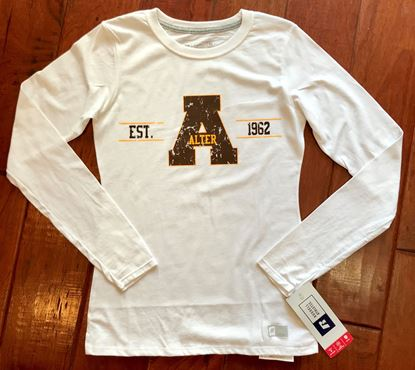 Picture of 50% OFF! Alter Est. 1962 Women's Essential Long Sleeve Tee by Russell 64LTTX - White