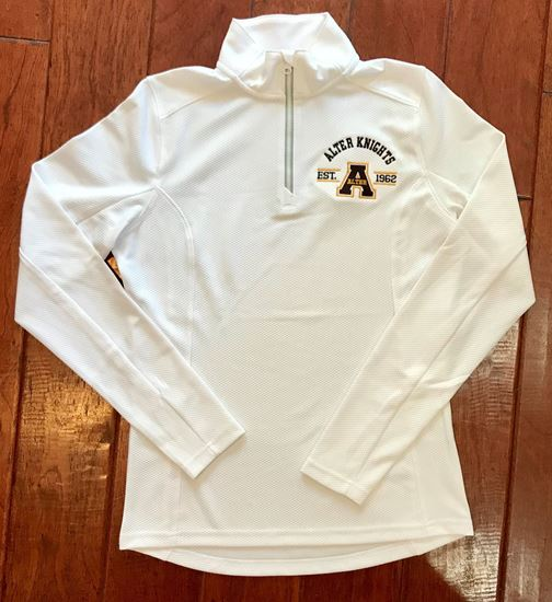 Picture of Alter Est. Logo 1/4 Zip Ladies Textured Pullover by Sport-Tek LST860 - White or Iron Gray