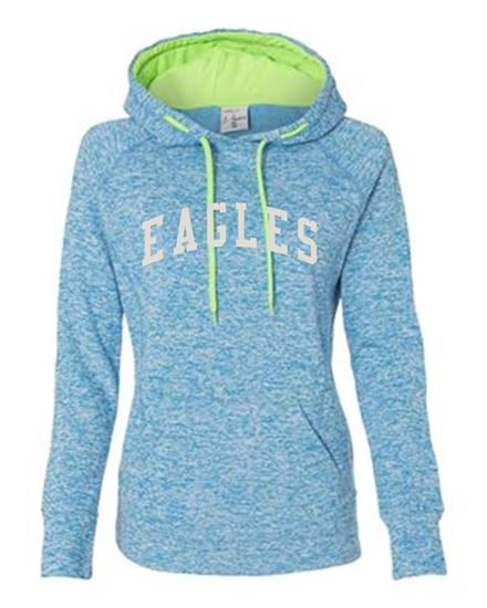 Picture of Bishop Leibold Women's Vintage Eagles Hoodie by J. America 8616 - Electric Blue/Neon Green