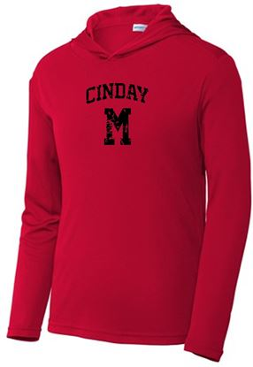 Picture of CinDay Unisex Wicking Hooded Pullover by Sport-Tek ST358 - Red