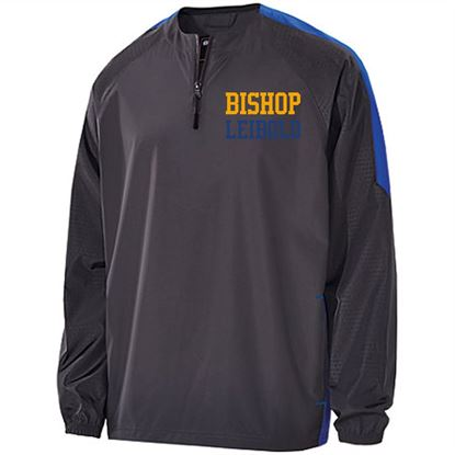 Picture of Bishop Leibold Youth 1/4 Zip Wind Pullover by Holloway 229227 - Charcoal Grey/Royal or Charcoal Grey/Gold