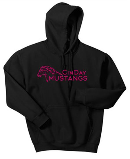Picture of CinDay Academy Horse GLITTER Logo Unisex Hoodie by Gildan 18500 - Heliconia or Black