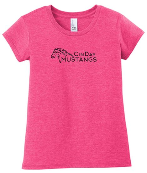 Picture of CinDay Academy Horse GLITTER Logo Women's Very Important Tee by District DT6001 - Fuchsia Frost or Black