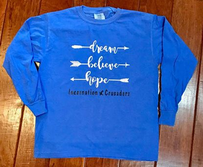 Picture of Incarnation Crusaders Dream, Believe, Hope Unisex Long Sleeve T-Shirt by Comfort Colors 6014 - Flo Blue