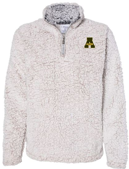Picture of Alter A Logo Ladies  1/4 Zip Sherpa by J. America 8451 - Oatmeal Heather ONLY 1 LEFT!!