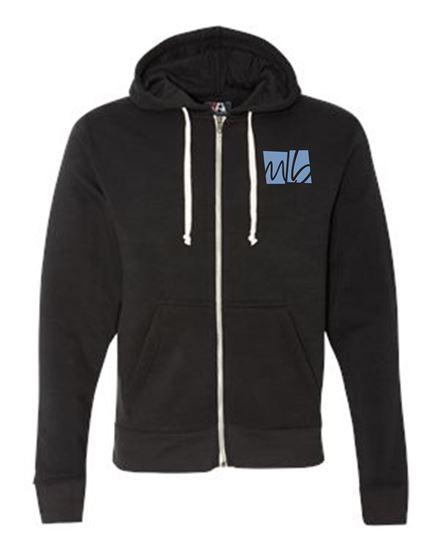Picture of McGohan Brabender Unisex Triblend Full-Zip Hooded Sweatshirt by J. America 8872 - Black, Grey