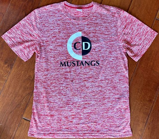 Picture of CinDay Mustangs Unisex Short Sleeve Dry-Fit Electric Heather Tee by Sport-Tek ST390 - Red