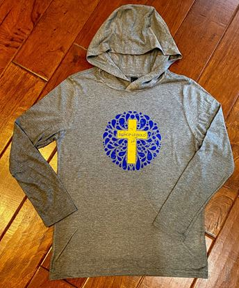 Picture of Bishop Leibold Youth Perfect Tri Long Sleeve Hoodie by District DT139Y - Grey Frost