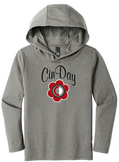 Picture of CinDay Youth Perfect Tri Long Sleeve Hoodie by District DT139Y - Grey Frost